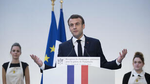 الرئيس الفرنسي إيمانويل ماكرون في 11 يناير/كانون الثاني 2019