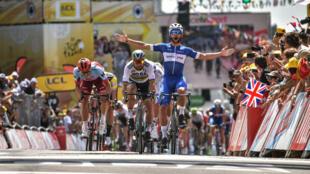 Le sprinteur Fernando Gaviria (Quick-Step) a remporté la première étape du Tour de France 2018, le samedi 7 juillet.