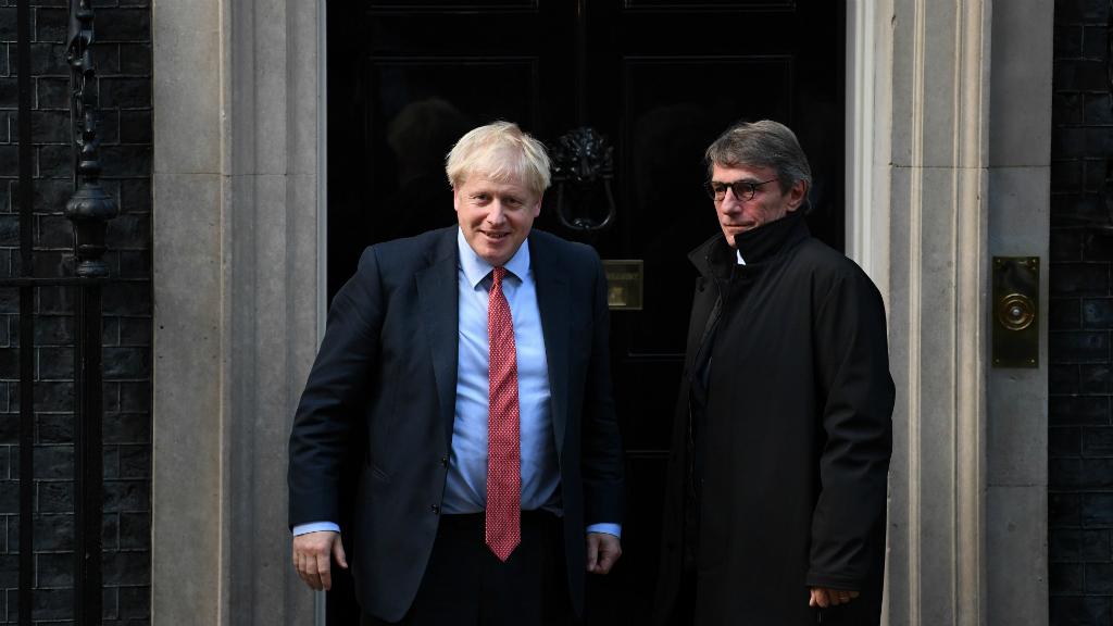 Fotografía de la última reunión, del 8 de octubre, entre Boris Johnson y David Sassoli.