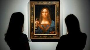 """لوحة """"سالفاتور موندي"""" لليوناردو دافينشي بقاعة مزادات دار كريستيز في لندن - 15 نوفمبر/تشرين الثاني 2017"""