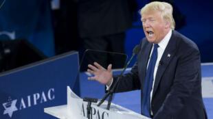 """""""Quand je serai président, il en sera fini des jours où l'on traitait Israël comme un citoyen de seconde zone"""", a affirmé Donald Trump devant l'Aipac, le 21 mars."""