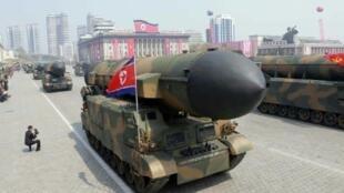 صواريخ بالستية خلال العرض العسكري في بيونغ يانغ 15 أبريل 2017