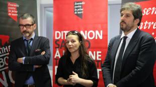 Me Richard Sédillot, Sabine Atlaoui et Raphaël Chenuil-Hazan, vendredi 26 juin 2015, au siège de l'association Ensemble contre la peine de mort.