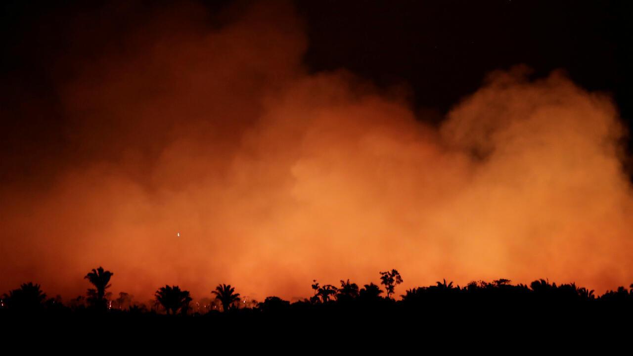Un feu de forêt ravage l'Amazonie, le 17 août 2019, près d'Humaita.