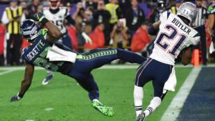 """Malcolm Butler, """"rookie"""" de Patriots"""", intercepte la ballon à la dernière seconde du match."""