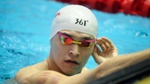 Le Chinois Sun Yang lors d'une séance d'entraînement aux Mondiaux de natation, le 19 juillet 2019 à Gwangju en Corée du Sud