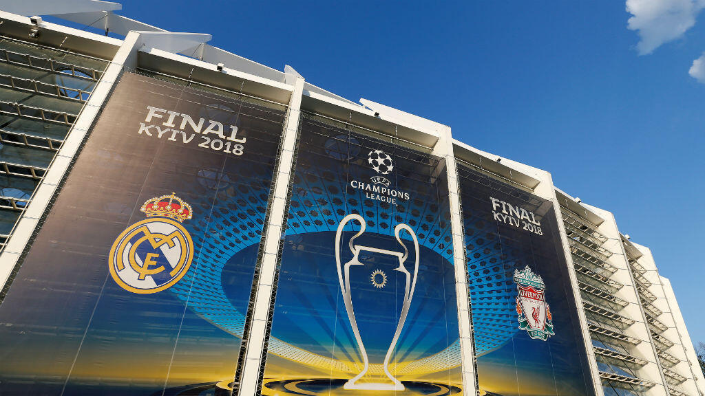 La fachada del estadio Olímpico de Kiev, Ucrania, donde Real Madrid y Liverpool jugarán la gran final de la UEFA Champions League 2017/2018.