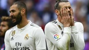 مهاجما ريال مدريد غاريث بايل وكريم بنزيمة.