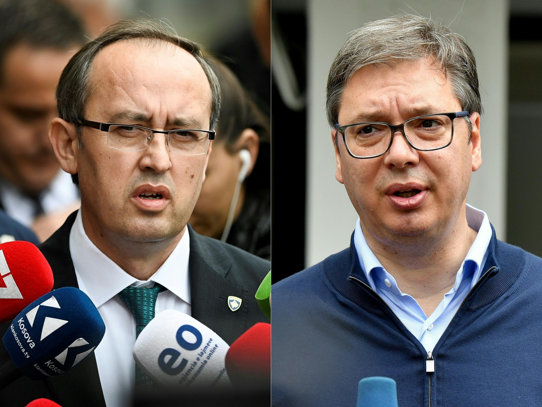 Newly elected Kosovo Prime Minister Avdullah Hoti, left, in Pristina, Kosovo, on June 3, 2020, and Serbian President Aleksandar Vucic in Belgrade, Serbia, on June 21, 2020.