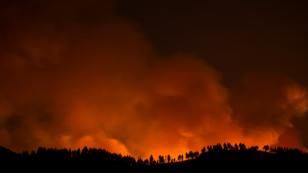 El incendio visto desde el pueblo de Valleseco, en la isla de Gran Canaria, España. 17 de agosto de 2019.