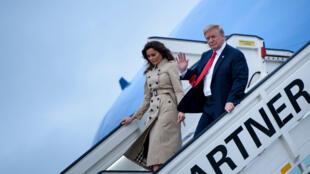 Donald Trump et sa femme Melania arrivent en Belgique le 10 juillet 2018.