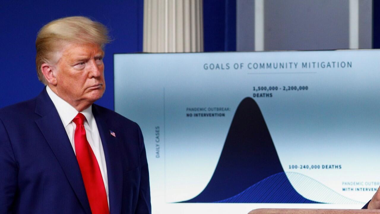 El presidente de Estados Unidos, Donald Trump, en una rueda de prensa para anunciar las medidas de mitigación de la pandemia en la Casa Blanca, Washington, el 31 de marzo de 2020.