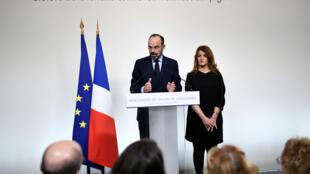 رئيس الحكومة الفرنسية إدوار فيليب يلقي خطابا حول العنف الزوجي خلال اليوم العالمي لمكافحة العنف ضد المرأة – باريس 25 تشرين الثاني/نوفمبر 2019