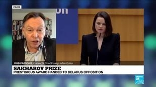 2020-12-16 15:10 Belarus opposition wins rights prize, urges EU to be braver