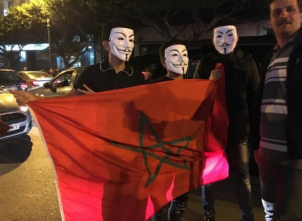 """""""مجهولون"""" من الأنونيموس بشوارع طنجة فور نهاية المباراة بين المغرب وساحل العاج"""
