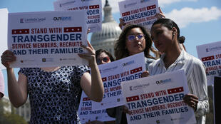 A protest against the transgender military service ban at the US Capitol on April 10, 2019.