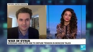 2020-03-05 13:33 Samuel Ramani comments on Erdogan's meeting with Putin in Moscow on France 24