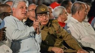 Raul Castro, in military attire, attends Cuban revolutionary celebrations with President Miguel Diaz-Canel