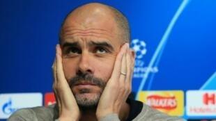 L'entraîneur de Manchester City, Pep Guardiola, en conférence de presse à Manchester, le 16 avril 2019