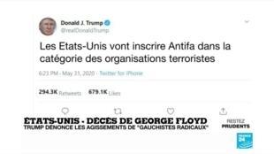 """2020-06-01 12:04 Mort de Georges Floyd : Donald Trump dénonce les agissements de """"gauchistes radicaux"""""""