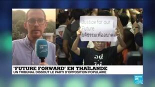 "2020-02-21 14:38 Thaîlande : le jeune parti politique ""Future Forward"" interdit par la justice"