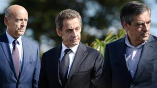 Alain Juppé, Nicolas Sarkozy et François Fillon, le 5 septembre 2015, à La Baule.