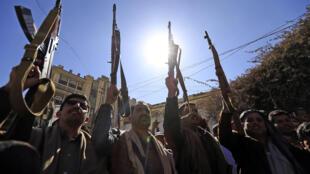 مؤيدون للمتمردين الحوثيين في صنعاء في 20 كانون الثاني/يناير 2021