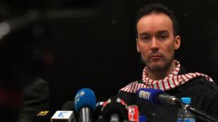 Yoann Barbereau lors d'une conférence de presse à Nantes, après avoir fui la Russie, le 10 novembre 2017.
