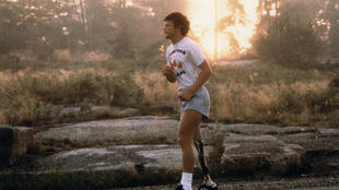 This undated and unlocated handout image released on May 20, 2020 by the Terry Fox Foundation courtesy of Gail Harvey shows Terry Fox running during his Marathon of Hope in Canada in 1980 to raise funds and increase cancer awareness