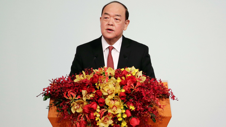 El nuevo jefe del Ejecutivo de Macao, Ho Iat Tseng, brinda un discurso en la cena de gala en conmemoración del 20° aniversario del retorno de Macao a soberanía china, el 20 de diciembre de 2019.