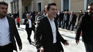 Le leader de Syriza Alexis Tsipras après que le Parlement grec a échoué à élire un président de la République, le 29 décembre 2014.