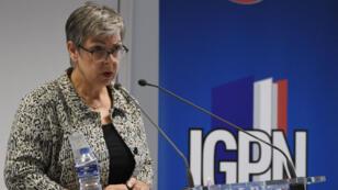 Conférence de presse de Marie-France Moneger-Guyomarc'h, directrice de l'IGPN, le 27 juillet, à Paris.