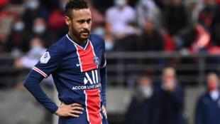 L'attaquand du Paris SG, Neymar, lors du match de Ligue 1 entre le PSG et Reims, le 27 septembre 2020 au stade Auguste Delaune de Reims