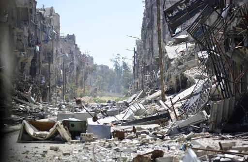Destruction in the Yarmouk Palestinian refugee camp near Damascus.