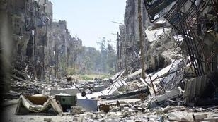 Destruction in the Yarmouk Palestinian refugee camp near Damascus.