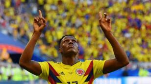 Le défenseur colombien Yerry Mina fête son but contre le Sénégal, le jeudi 28 juin 2018.