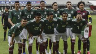 L'équipe du Mexique, le 2 juin 2018, avant un match amical contre l'Écosse, au stade Azteca de Mexico.