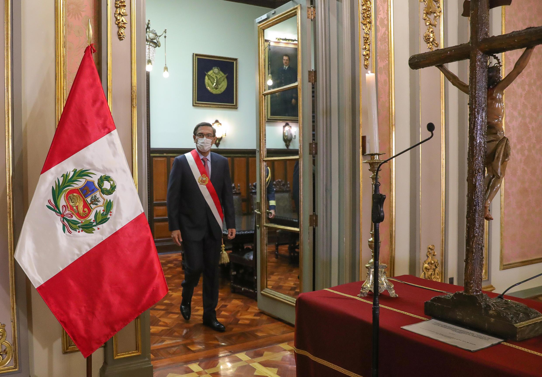 El presidente peruano, Martín Vizcarra, en el palacio presidencial en Lima, Perú, el 6 de agosto de 2020.
