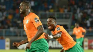 Yaya Touré et Serge Aurier lors de la demi-finale de la Coupe d'Afrique des Nations, le 4 février, en Guinée équatoriale.