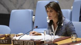 Fotografía cedida por la ONU donde aparece la presidenta de turno del Consejo de Seguridad, la estadounidense Nikki Haley, mientras habla durante una reunión sobre la situación en Nicaragua el miércoles 5 de septiembre de 2018, en la sede del organismo en Nueva York (EE.UU.).