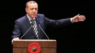 Le président turc Recep Tayyip Erdogan lors d'une cérémonie aux vétérans, le 27 octobre à Ankara.
