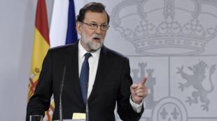 Le Premier ministre espagnol Mariano Rajoy lors de son allocution le 21 octobre 2017.