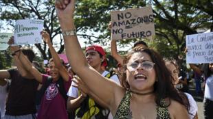Militants écologistes protestant contre le gouvernement Bolsonaro au sujet des incendies en forêt amazonienne. Devant le consulat brésilien de Cali en Colombie, le 23 août 2019.