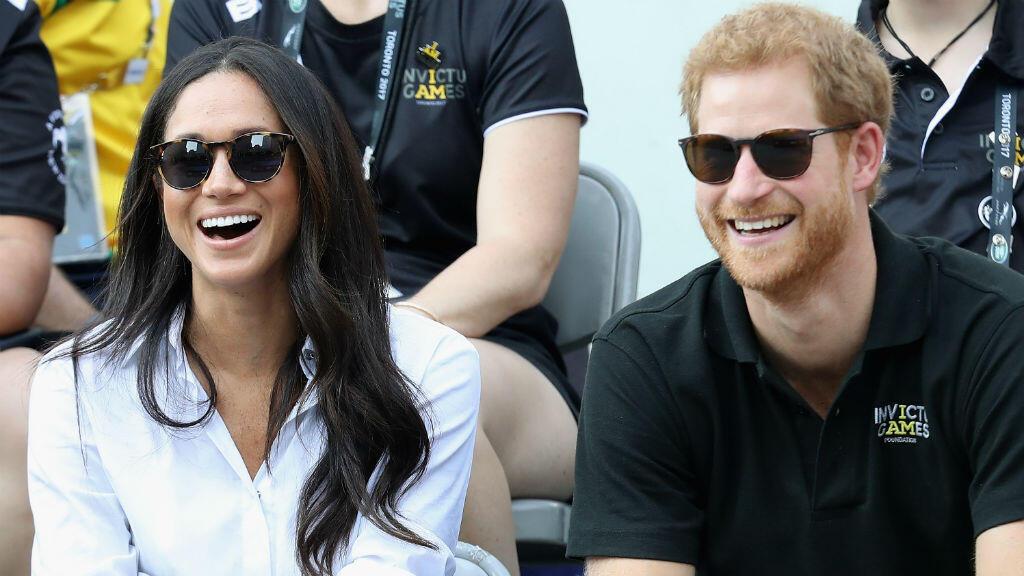 Le prince Harry et l'actrice Meghan Markle, le 25 septembre 2017, lors d'un match de tennis à Toronto au Canada.