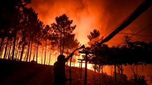 Un aldeano sostiene una manguera para mitigar un incendio forestal que rodea su casa en Amendoa en Macao, Portugal, el 21 de julio de 2019.