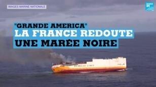 "L'incendie à bord du cargo italien ""Grande America"", le 11mars2019."
