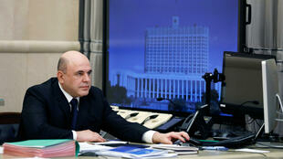 Russian Prime Minister Mikhail Mishustin at a meeting via video link in Moscow, Russia April 30, 2020.