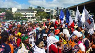 Manifestation dans le chef-lieu de Mayotte, Mamoudzou, mardi 13 mars 2018.