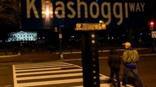 "A protest sign across the street from the White House in Washington reads ""Khashoggi Way"" December 23, 2018"