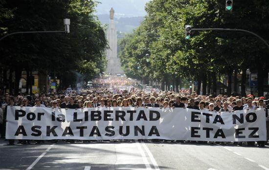 En 2009, des milliers de personnes avaient réclamé la dissolution de l'ETA, à Bilbao, capitale du Pays basque espagnol.